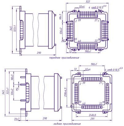 Габаритные, установочные и присоединительные размеры, схемы подключения комплекта защиты КЗ-36.